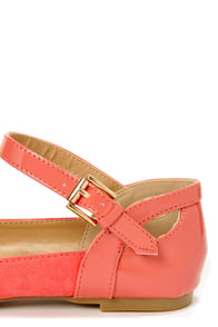 City Classified Calc Dark Salmon Ankle Strap Pointed Flats at Lulus.com!