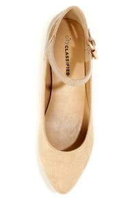 City Classified Calc Oatmeal Ankle Strap Pointed Flats at Lulus.com!