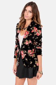 Rhapsody in Bloom Floral Black Velvet Blazer at Lulus.com!