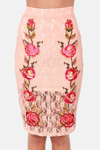 Bud-lines Peach Lace Pencil Skirt at Lulus.com!