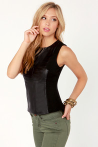 Leather'd Times a Charm Black Top at Lulus.com!
