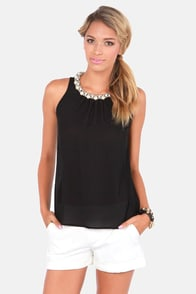 First Pearl-son Sheer Black Top at Lulus.com!