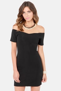 Mink Pink Roxanna Black Off-the-Shoulder Dress at Lulus.com!