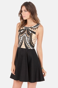 Mink Pink Cleopatra Black Print Dress at Lulus.com!