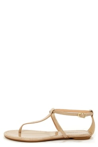 City Classified Indigo Dark Beige Patent T-Strap Thong Sandals at Lulus.com!