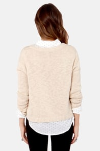 Mink Pink Pride of Place Beige Elephant Knit Sweater at Lulus.com!