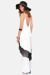 RVCA Vagari Ivory Fringe Maxi Dress at Lulus.com!