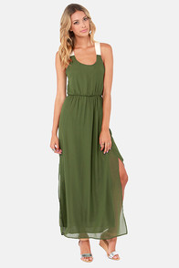 LULUS Exclusive Slit to be Tied Army Green Maxi Dress at Lulus.com!