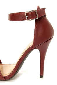 Anne Michelle Enzo 01 Wine Red Single Strap Heels at Lulus.com!