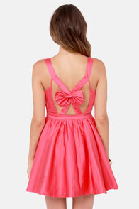 Throw Me a Bow Coral Pink Dress at Lulus.com!