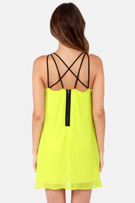 Rattle Your Cage Highlighter Yellow Dress at Lulus.com!