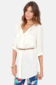 Down to Business Belted Ivory Tunic Top at Lulus.com!
