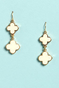 Clover Girl Ivory Drop Earrings at Lulus.com!