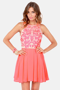 Keepsake Golden Child Embroidered Neon Coral Dress at Lulus.com!