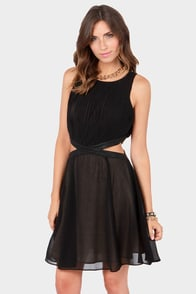 First Pleats Winner Cutout Black Dress at Lulus.com!
