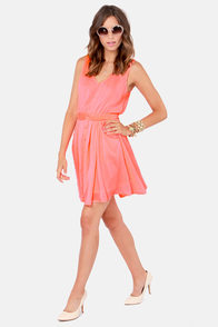 Brilliant Beginnings Neon Coral Dress at Lulus.com!