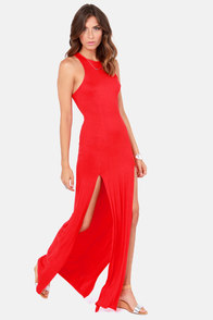 Stem Spells Red Racerback Maxi Dress at Lulus.com!