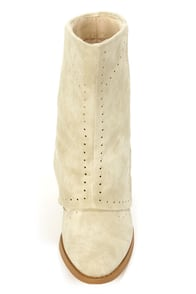 Not Rated Most Wanted Cream Pierced and Buttoned Fold-Over Boots at Lulus.com!