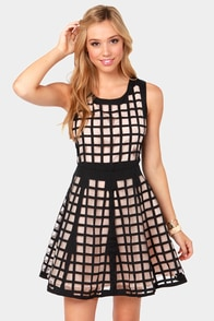 Pane-t the Town Blush and Black Dress at Lulus.com!