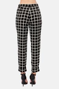 Check It Out Black Print Pants at Lulus.com!