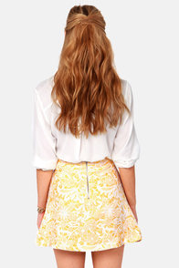 Mod-el Behavior Embroidered Yellow Skirt at Lulus.com!