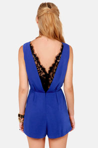 Hope-lace-ly Devoted Royal Blue Lace Romper at Lulus.com!