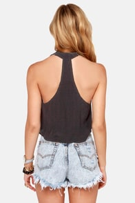 Crochet the Word Black Crochet Halter Top at Lulus.com!