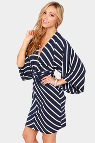 Majestic Seas Navy Blue Striped Kimono Dress at Lulus.com!
