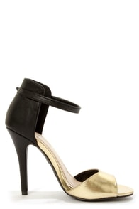 Anne Michelle Enzo 33 Gold Metallic and Black High Heels at Lulus.com!