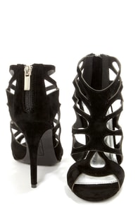 Anne Michelle Rapture 22 Black Cutout Peep Toe Heels at Lulus.com!