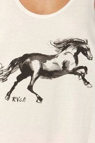 RVCA Horse Print White Tank Top at Lulus.com!