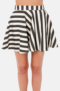 Dizzy Darling Black and Ivory Striped Skirt at Lulus.com!