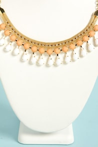 Shooby Dooby Dew Drops Peach Statement Necklace at Lulus.com!