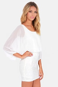 Glide Into the Sunset Ivory Lace Dress at Lulus.com!