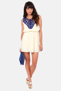 Applique You're OK Cream and Blue Lace Dress at Lulus.com!