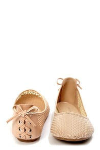 Bamboo Standouts 19 Nude Laced-Back Cutout Ballet Flats at Lulus.com!
