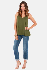 Bicycle Built For Tulips Army Green Top at Lulus.com!