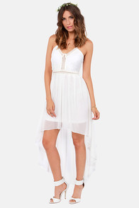Crochet-ke It, Shake It Baby Ivory High-Low Dress at Lulus.com!
