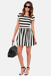 Button Down the Hatches Black and Ivory Striped Dress at Lulus.com!