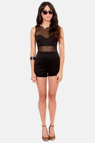 Netted Bliss Mesh Black Romper at Lulus.com!