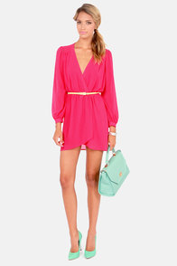 LULUS Exclusive Under Wraps Fuchsia Pink Wrap Dress at Lulus.com!
