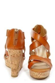 Bamboo Parker 12 Chestnut Crisscrossing Strappy Wedge Sandals at Lulus.com!