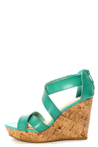 Bamboo Parker 12 Sea Green Crisscrossing Strappy Wedge Sandals at Lulus.com!