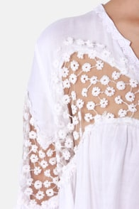 The Blouse Will Play Embroidered White Top at Lulus.com!