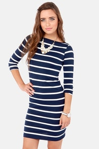 Heir Lines Navy Blue Striped Dress