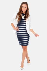 Heir Lines Navy Blue Striped Dress at Lulus.com!