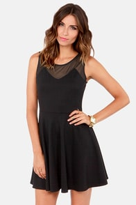 Just Meshin' Black Skater Dress at Lulus.com!