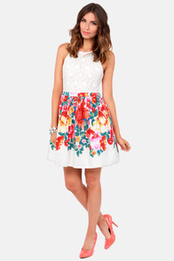 LULUS Exclusive Blooms Away! Ivory Floral Print Dress at Lulus.com!