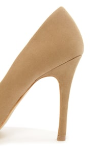 Mixx Shuz Teresa Nude and Gold Cap-Toe Pointed Pumps at Lulus.com!