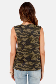 Gorgeous in General Camo Print Muscle Tee at Lulus.com!